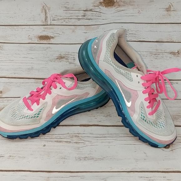 shoes, white, turquoise, nike, nike airmax pink blue white